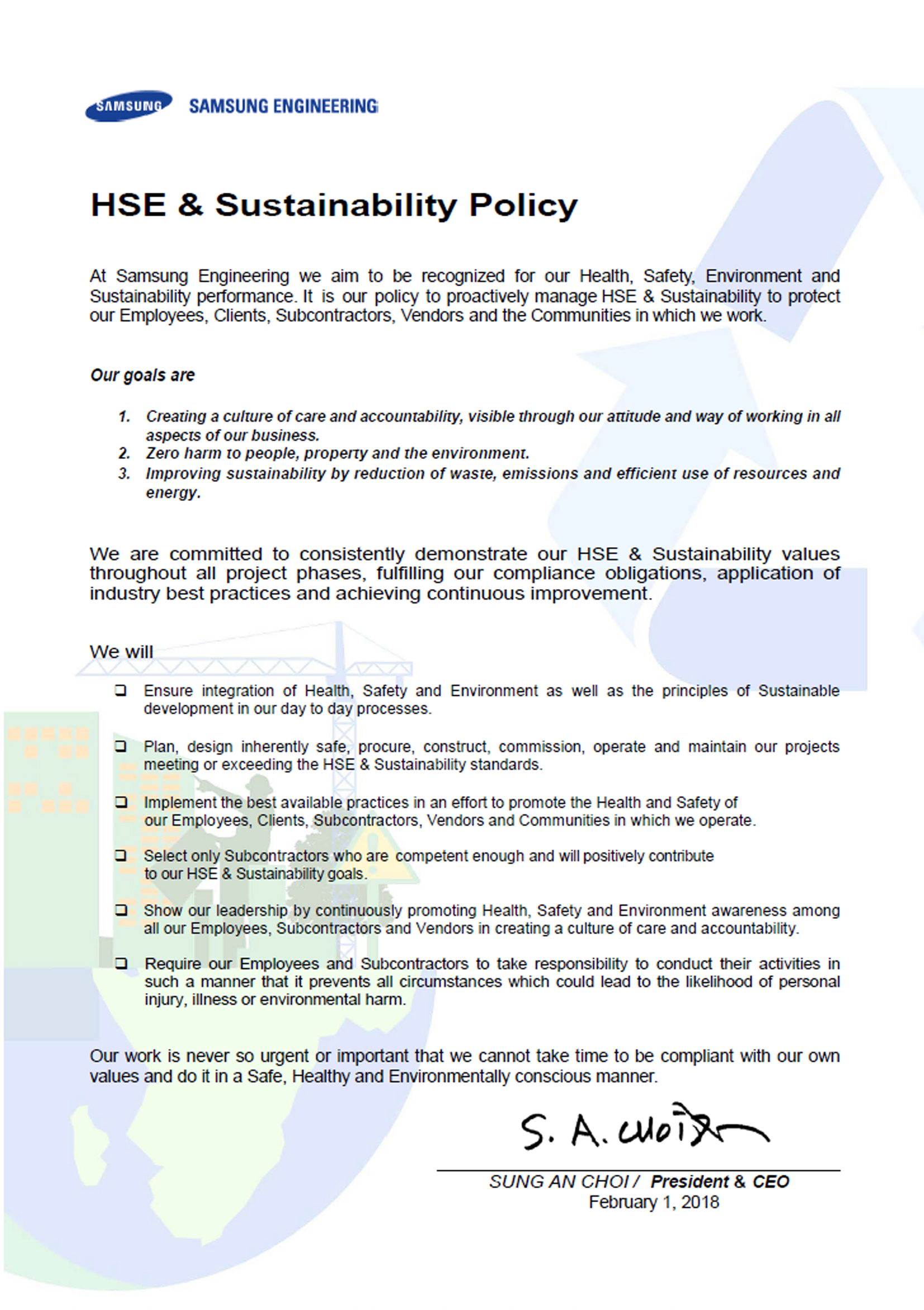 Hse Management Sustainability Samsung Engineering