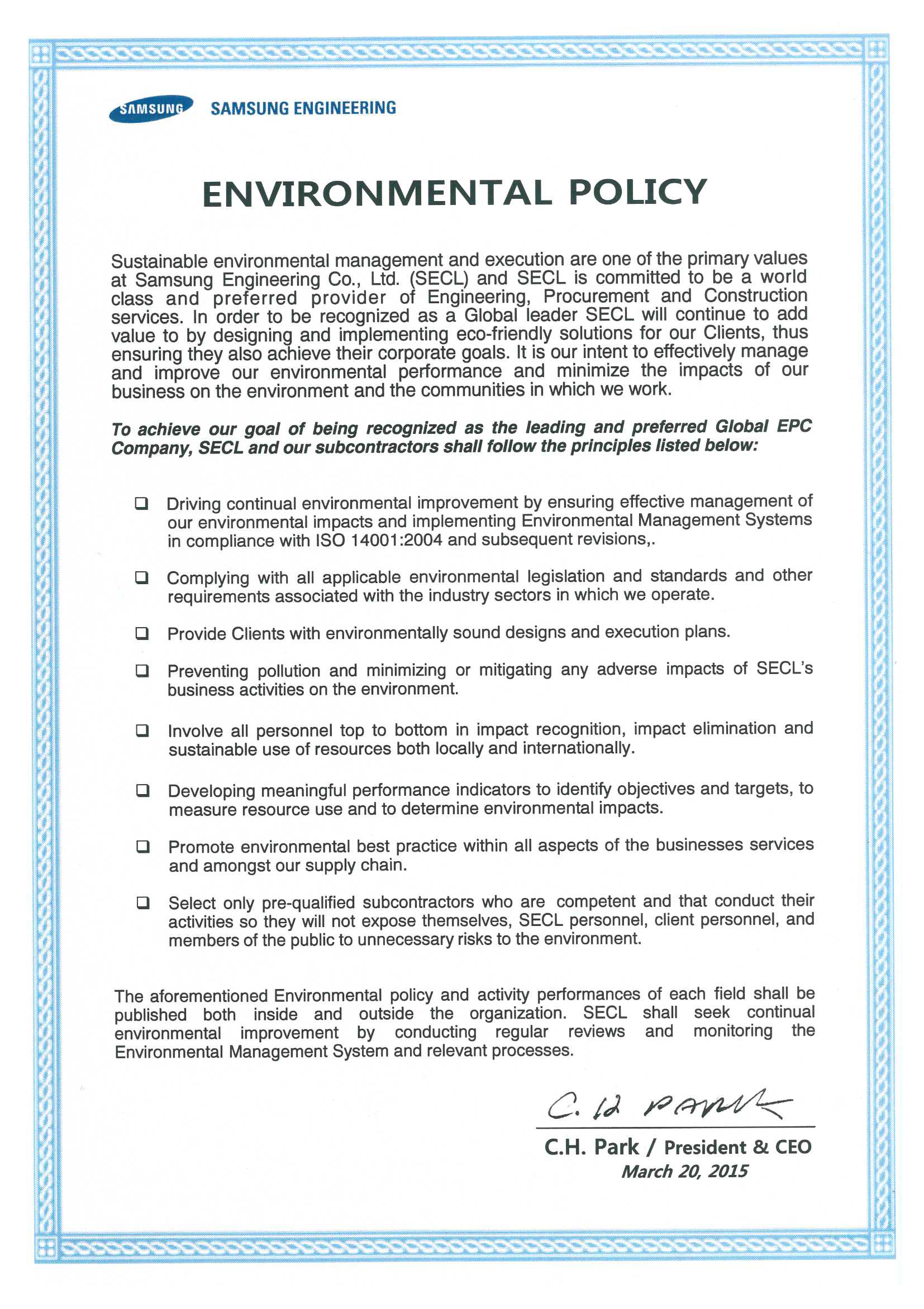 Samsung engineering for Construction environmental management plan template